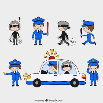 Policías y ladrones dibujados a mano