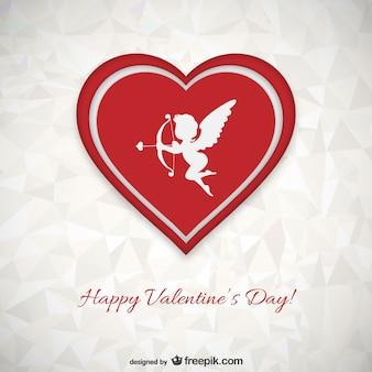 Tarjeta de San Valentín con fondo poligonal