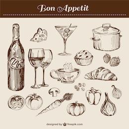 Por el arte elaborado línea de cocina elementos de vector de los alimentos
