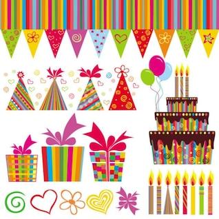 Por el cumpleaños hermosa pintada elementos del vector
