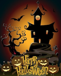 Postal asustadiza feliz halloween