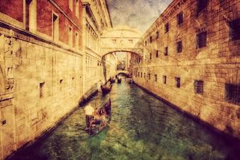 Postal de un canal de venecia