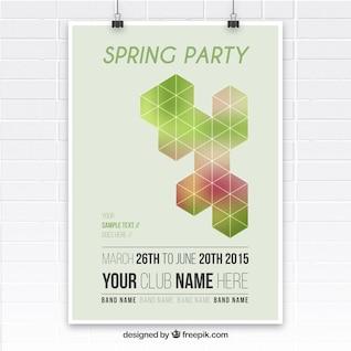 Póster de fiesta de la primavera con formas geométricas