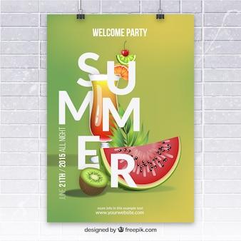 Póster de fiesta de verano con frutas