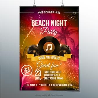 Póster de fiesta en la playa de noche