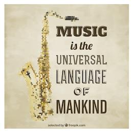 Póster poligonal de saxofón y frase