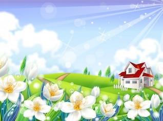 Pradera casa con fowers y los rayos solares fondo