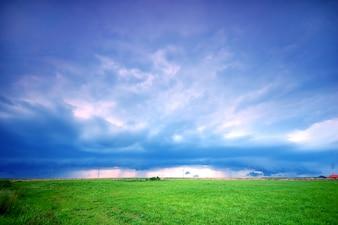 Prado solitario con el cielo de fondo