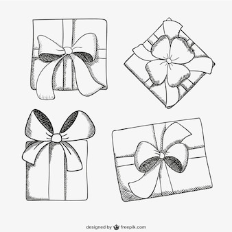 Bocetos de cajas de regalo