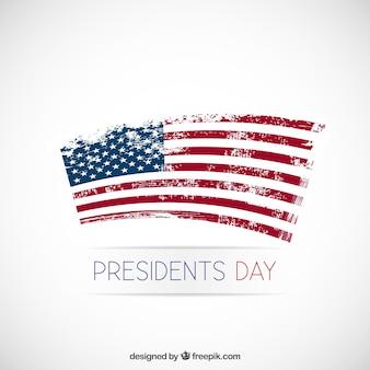 Fondo del día del presidente con bandera deteriorada