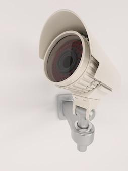 Primer plano de cámara de vigilancia en la pared