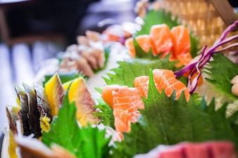 Primer plano de delicioso salmón