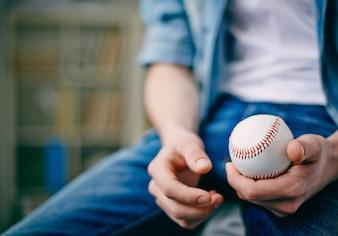 Primer plano pelota de bésibol