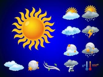 Pronóstico del tiempo utilizando vectores icono nubes