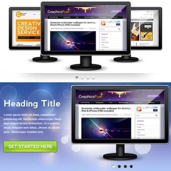 psd del monitor gráfico para el pase de diapositivas página web de cabecera