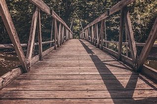 Puente de madera sobre el río