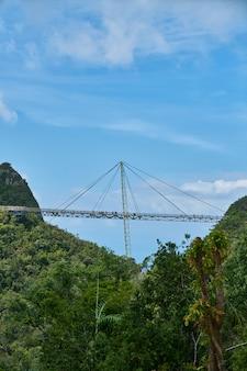 Puente que cruza entre dos montañas con árboles