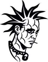 Punky adolescente cabeza hombre