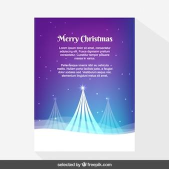 Púrpura Tarjeta de Navidad cubierto de nieve