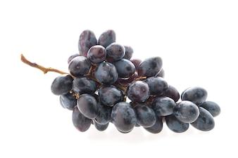 Racimo de uvas sobre fondo blanco