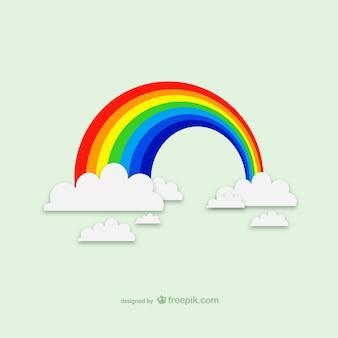 Vector arcoíris con nubes