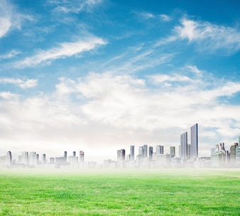 Rascacielos en la distancia en un día con niebla
