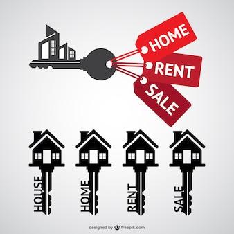 Logos de inmobiliaria con forma de llave