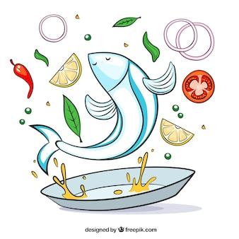 Receta de pescado, ilustración