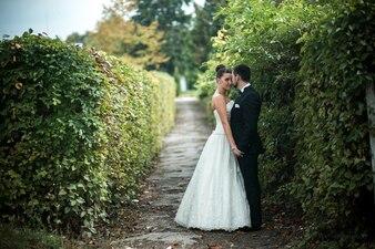 Recién casados posando entre arbustos