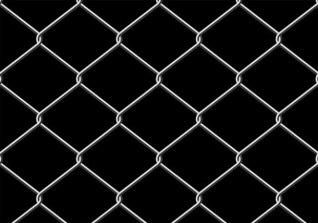 Rejilla de metal gris sobre fondo negro