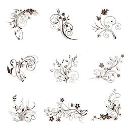 Remolinos florece elementos decorativos de época