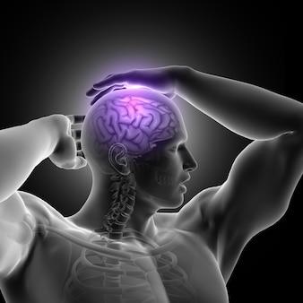 Render 3d de figura masculina sujetando cabeza con cerebro destacado