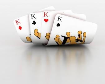 Render 3d de tarjetas de juego de cuatro reyes