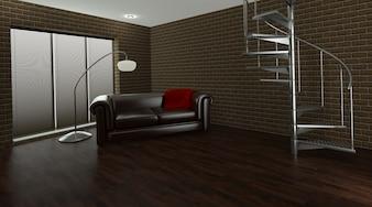 Render 3d de un espacio interior contemporáneo
