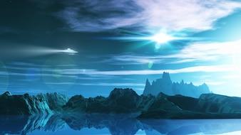 Render 3d de un paisaje de ciencia ficción con ufo