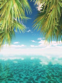 Render 3d de un paisaje tropical