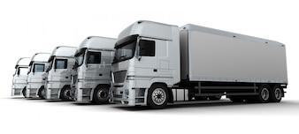 Render 3d de una flota de vehículos de entrega