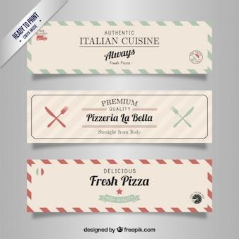 Restaurante italiano banners en estilo retro