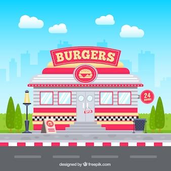 Restaurante retro hamburguesa