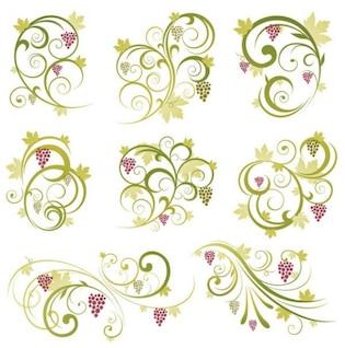 resumen de la uva de vid ornamento floral, vector de