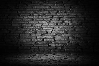 Resumen de ladrillos de cemento negro con borde negro backgroun viñeta