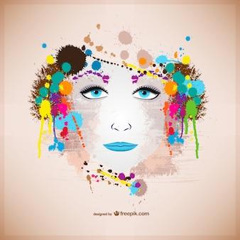 Retrato colorido de mujer