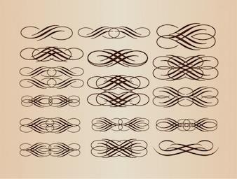 Elementos del vector retro caligráficas
