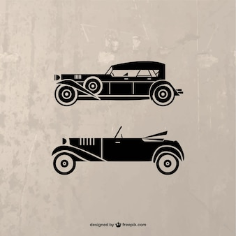 Vector de silueta de coches retro