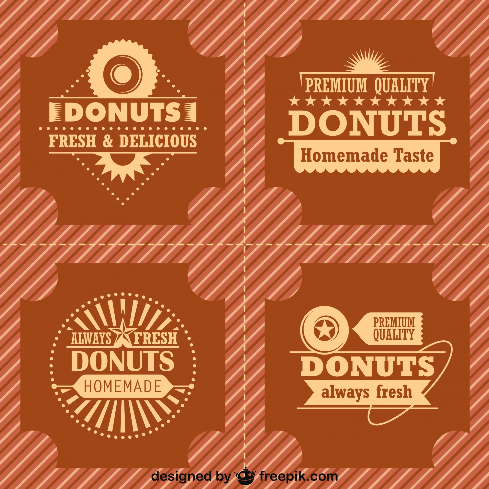 Etiquetas para marketing de donas estilo retro