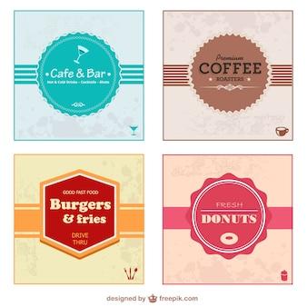Etiquetas retro de alimentos y bebidas