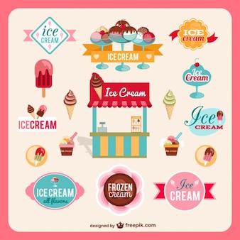 Vectores retro de heladería