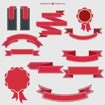 Conjunto de cintas y etiquetas rojas