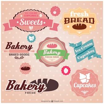 Conjunto de pegatinas retro de panadería