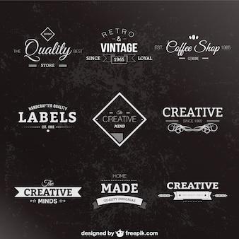 Etiquetas retro en blanco y negro